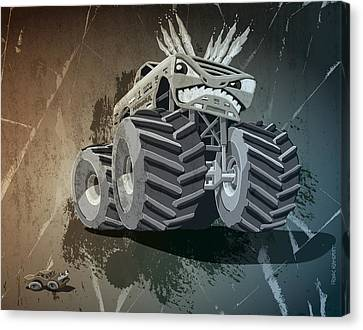 Aggressive Monster Truck Grunge Canvas Print