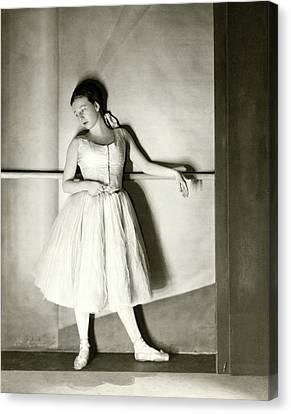 Ballet Dancers Canvas Print - Agnes De Mille Resting Her Arm On A Balance Bar by Nickolas Muray