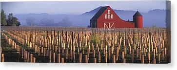 Agriculture - A New Red Barn Stands Canvas Print by Randy Vaughn-Dotta