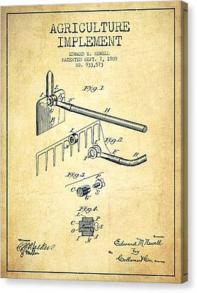Agriculture Implement Patent From 1909 - Vintage Canvas Print by Aged Pixel