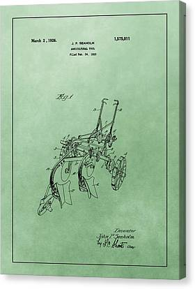 Agriculture Plow Patent Canvas Print
