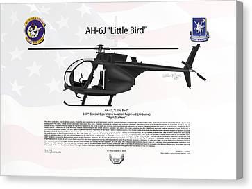 Ah-6j Canvas Print - Ah-6j Little Bird Night Stalkers by Arthur Eggers