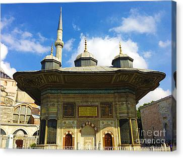 Ahmet II Fountain Next To Topkapi Palace Main Entry With A Minaret Of Hagia Sophia Palace Istanbul  Canvas Print by Ralph A  Ledergerber-Photography