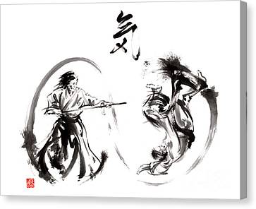 Aikido Federation Show Double Enso Fight Line Circle Painting Canvas Print