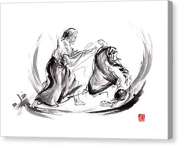 Aikido Fight Scenery Martial Arts Drawing Painting Sketch Art Draw Japan Japanese School Canvas Print