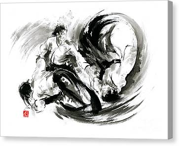 Aikido Randori Fight Popular Techniques Martial Arts Sumi-e Samurai Ink Painting Artwork Canvas Print by Mariusz Szmerdt