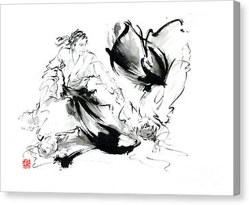 Aikido Randori Techniques Kimono Martial Arts Sumi-e Samurai Ink Painting Artwork Canvas Print by Mariusz Szmerdt