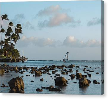 Aina Haina Windsurfer 1 Canvas Print by Leigh Anne Meeks