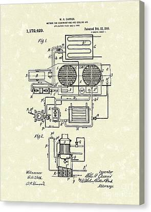 Air Conditioner 1916 Patent Art Canvas Print by Prior Art Design