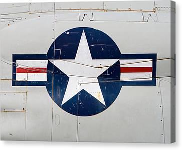 Air Force Logo On Vintage War Plane Canvas Print