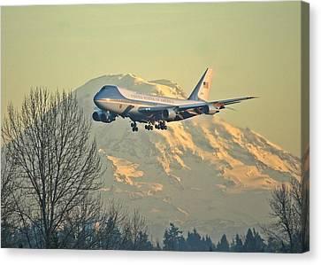 Air Force One And Mt Rainier Canvas Print