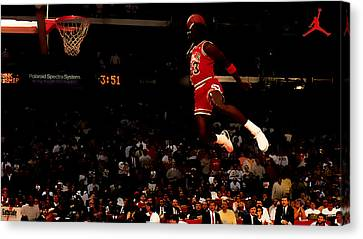 Patrick Ewing Canvas Print - Air Jordan In Flight by Brian Reaves