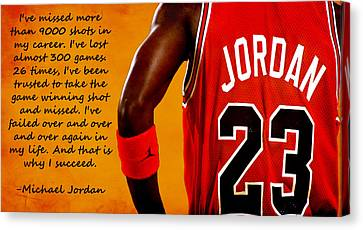 Chicago Bulls Canvas Print - Air Jordan Success Quote by Brian Reaves