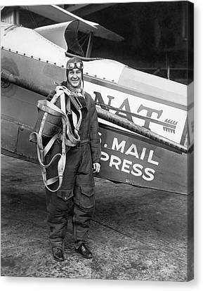 Air Mail Pilot Speed Record Canvas Print by Underwood Archives