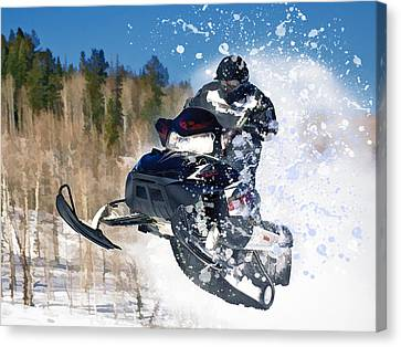 Airborne Snowmobile Canvas Print by Elaine Plesser
