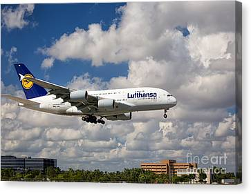 Airbus A-380-800 Lufthansa Canvas Print by Rene Triay Photography