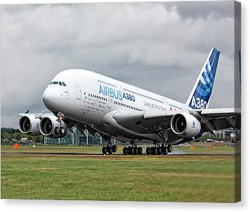 Airbus A380 Landing Canvas Print by Shirley Mitchell