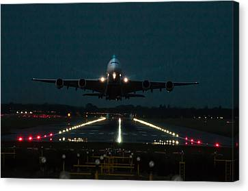 Airbus A380 Take-off At Dusk Canvas Print by Tim Beach