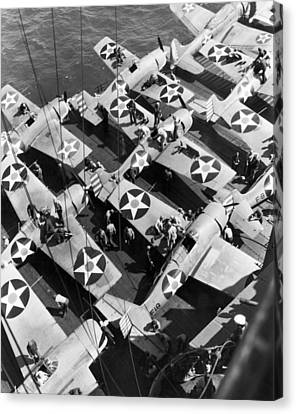 Aircraft Carrier Planes Reload Canvas Print by Underwood Archives