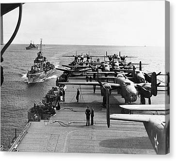 Aircraft Carrier Uss Hornet Canvas Print by Us Air Force