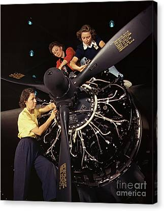 Aircraft Engine Installation 1942 Canvas Print