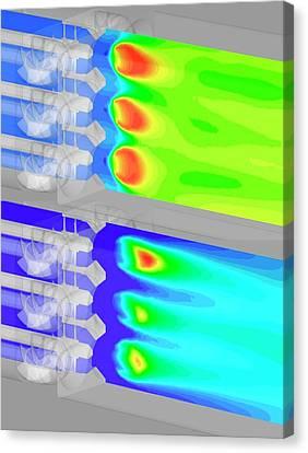 Aircraft Fuel Injection Simulation Canvas Print by Nasa/glenn (kumud Ajmani, Jeffrey Moder)