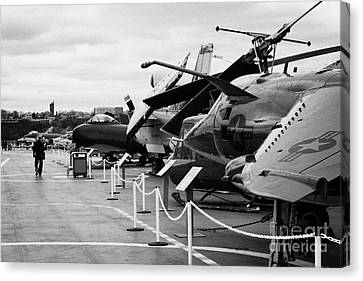 Aircraft In A Line On The Flight Deck Of The Uss Intrepid At The Intrepid Sea Air Space Museum Usa Canvas Print by Joe Fox