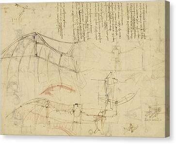 Exploration Canvas Print - Aircraft Machine Has Been Reduced To Simplest Shape Wings Directly Put On Human Body By Straps  by Leonardo Da Vinci
