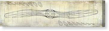 Aircraft Propeller Blueprint Drawing Canvas Print by Jon Neidert