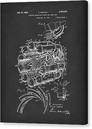 Unit Canvas Print - Aircraft Propulsion 1946 Patent Art Black by Prior Art Design