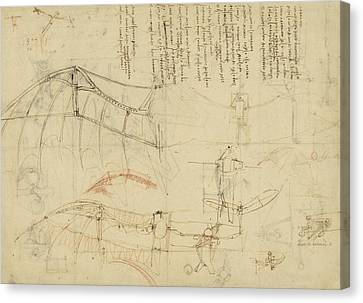 Exploration Canvas Print - Aircraft The Machine Has Been Reduced To The Simplest Shape by Leonardo Da Vinci
