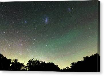 Airglow And Magellanic Clouds Canvas Print by Luis Argerich