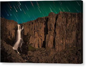 Copyright 2013 By Mike Berenson Canvas Print - Airglow Star Trails Over North Clear Creek Falls by Mike Berenson