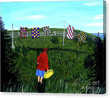 Airing Grandmother's Quilts Canvas Print by Barbara Griffin