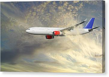 Airplane Flying Into Clouds Close-ups Canvas Print by Christian Lagereek