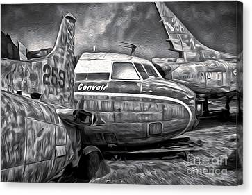 Airplane Graveyard - Black And White Canvas Print by Gregory Dyer