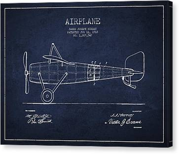 Airplane Patent Drawing From 1918 Canvas Print