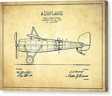 Airplane Patent Drawing From 1918 - Vintage Canvas Print