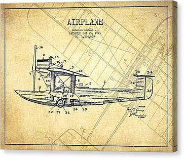 Airplane Patent Drawing From 1921-vintage Canvas Print