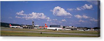 Airplane Taking Off, Zurich Airport Canvas Print by Panoramic Images