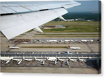 Airplane View Of An Airport Canvas Print