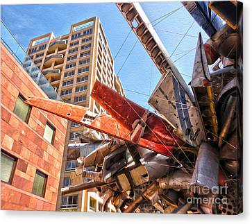Airplane Wreckage Sculpture Outside Museum Of Contemporary Art - 02 Canvas Print by Gregory Dyer