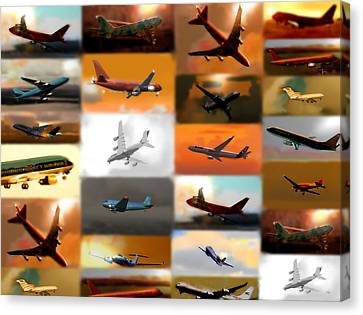 Airplanes Collage Canvas Print by Marcello Cicchini