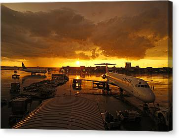 Airport After The Rain Canvas Print by Chikako Hashimoto Lichnowsky