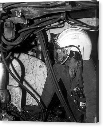 Airstream Helmet Coal Mine Tests Canvas Print