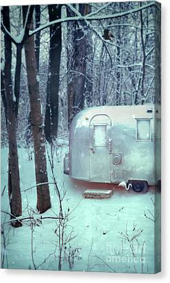 Airstream Trailer In Snowy Woods Canvas Print by Jill Battaglia