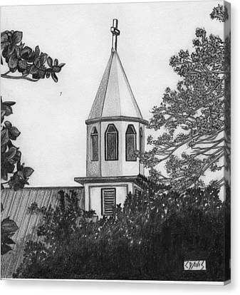 Canvas Print featuring the drawing Ajeltake Steeple by Lew Davis