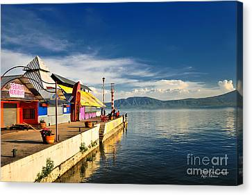 Ajijic Pier - Lake Chapala - Mexico Canvas Print by David Perry Lawrence