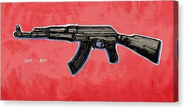 Ak - 47 Gun Pop Art Drawin Poster Canvas Print by Kim Wang