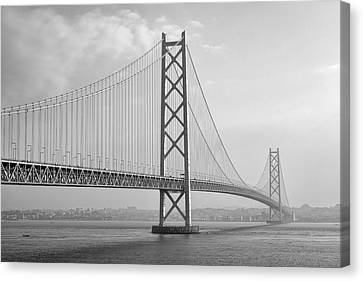 Akashi Kaikyo Bridge Monochrome Canvas Print by Daniel Hagerman